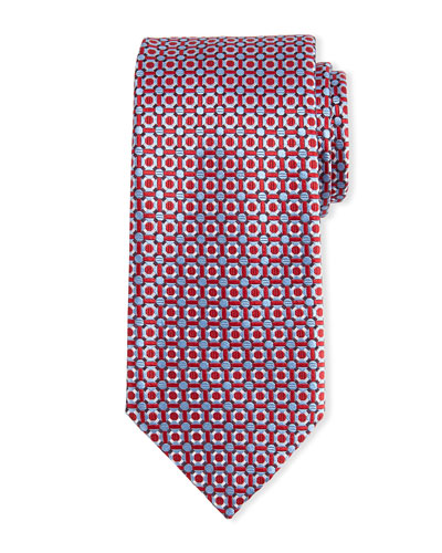 Basketweave Geometric-Print Silk Tie
