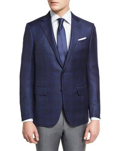 Tonal Plaid Two-Button Sport Coat, Navy