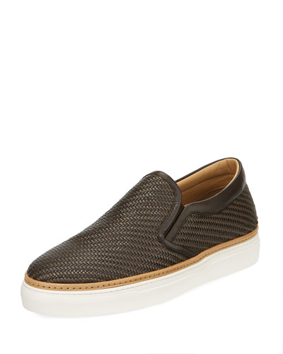 Pelle Tessuta Woven Leather Slip-On Sneaker, Brown