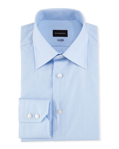 100Fili Tonal Box Dress Shirt, Blue
