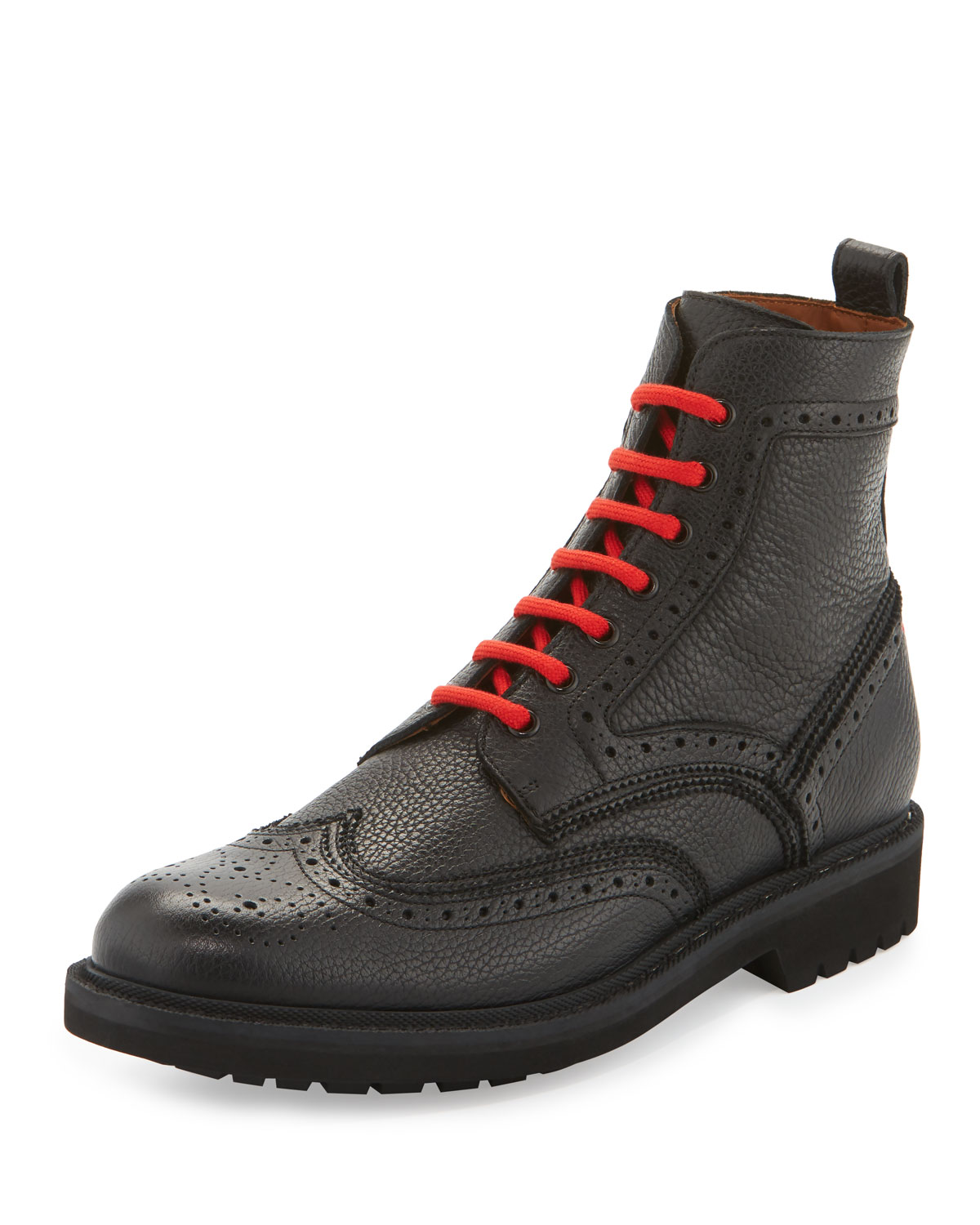 Leather Wing-Tip Combat Boot with Contrast Laces, Black