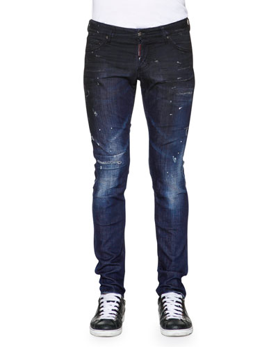 Slim-Fit Distressed Denim Jeans, Blue