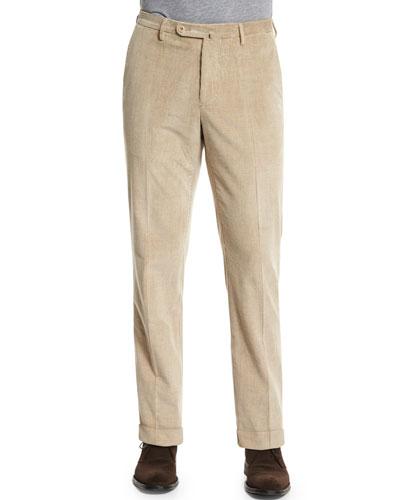 Wide-Wale Corduroy Trousers, Beige