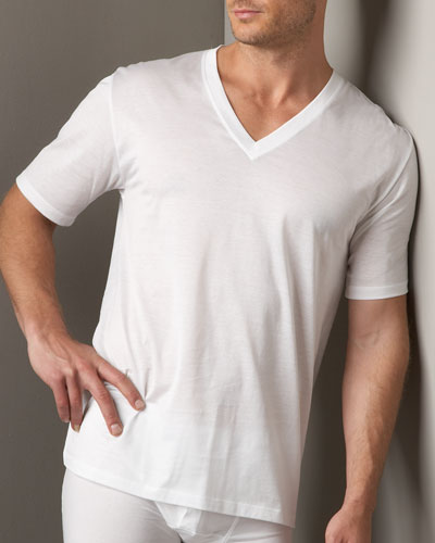 Cotton Sporty V-Neck T-Shirt