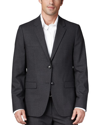 Stretch-Wool Sport Coat, Charcoal