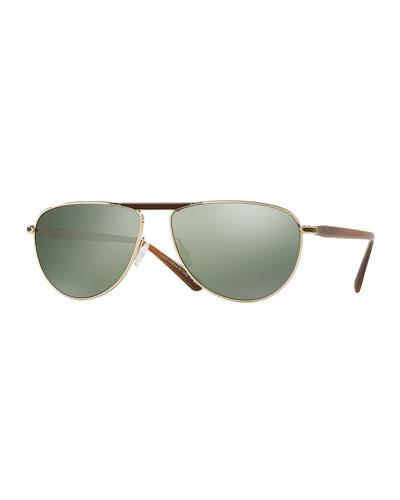 Conduit Street 59 Mirrored Pilot Sunglasses, Tobacco Bis/Gold