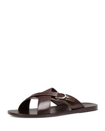 Karel Leather Crisscross Slide Sandal