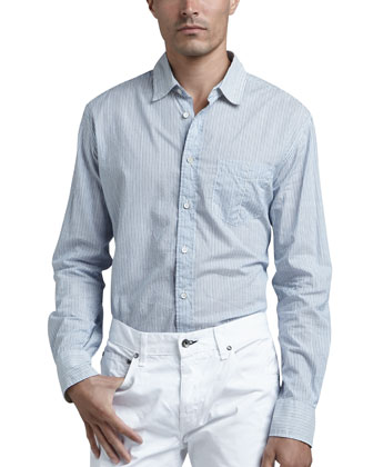Yokohama Striped Sport Shirt, Blue
