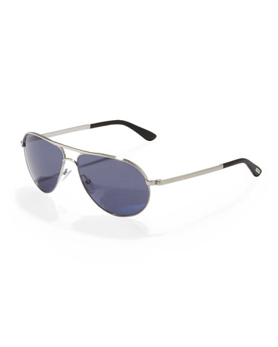 Marko Aviator Sunglasses, Shiny Rhodium