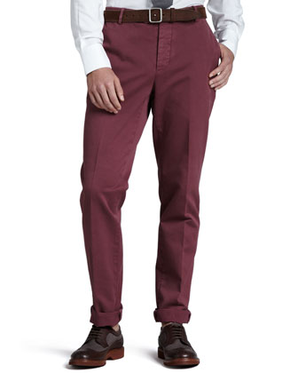 Basic Cotton Pants, Cherry