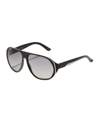 Web Plastic Aviator Sunglasses, Black/White