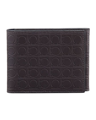 Gamma Gancini-Embossed Tri-Fold Wallet, Dark Gray
