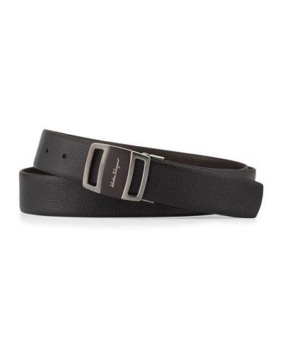 Reversible Vara-Buckle Belt, Black/Brown
