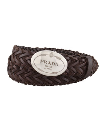 Woven Leather Logo Belt, Dark Brown