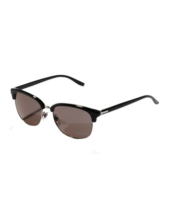 Plastic Half-Rim Sunglasses, Black