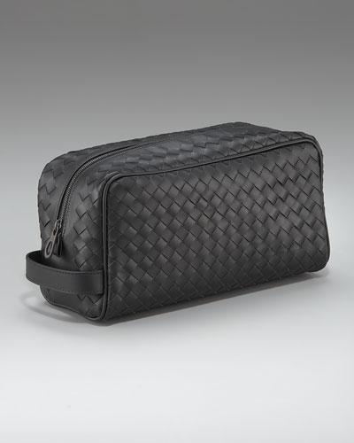 Woven Leather Dopp Kit, Black