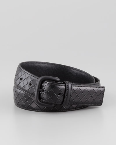 Scolpito Scored Leather Belt, Black