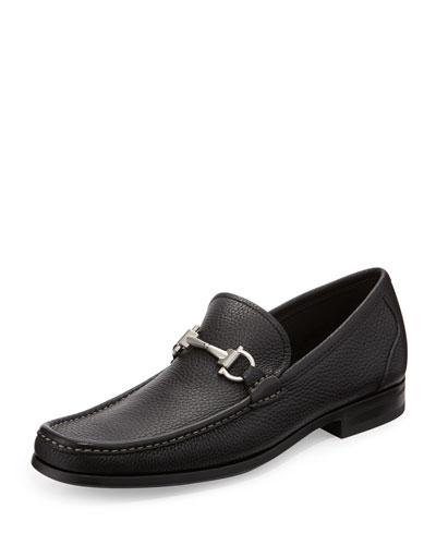 Pebbled Leather Loafer, Black