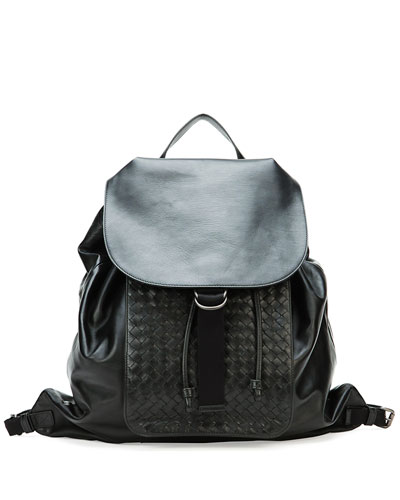Men's Woven Leather Backpack, Black