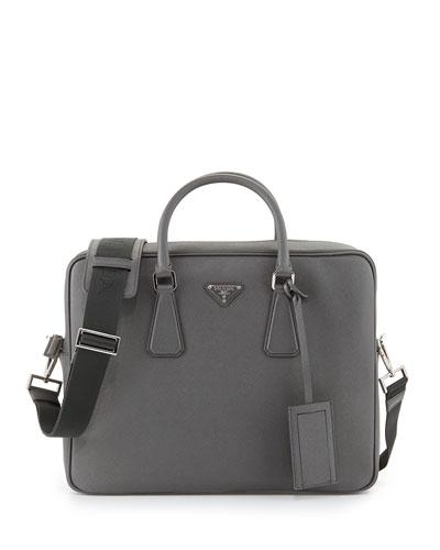 Saffiano Logo Briefcase with Shoulder Strap, Gray