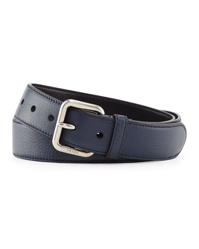 Dino Silver-Buckle Belt, Blue