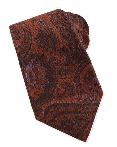 Paisley Wool/Silk Tie, Brown/Purple