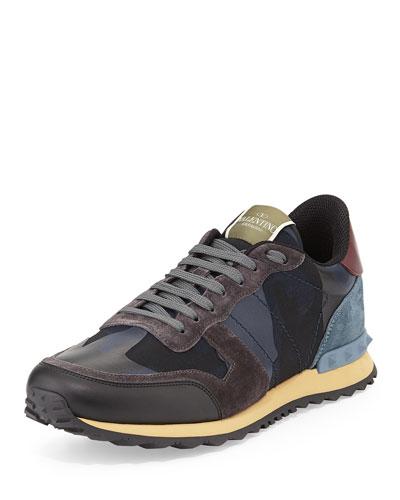 Men's Rockrunner Camo-Print Sneaker, Blue