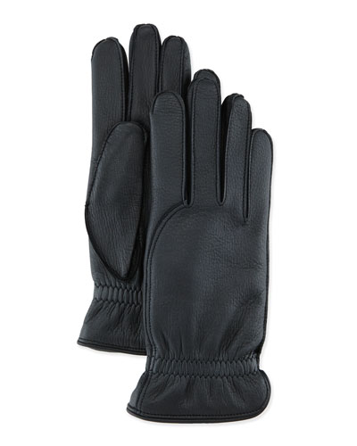 Leather Gloves with Cashmere Lining, Black