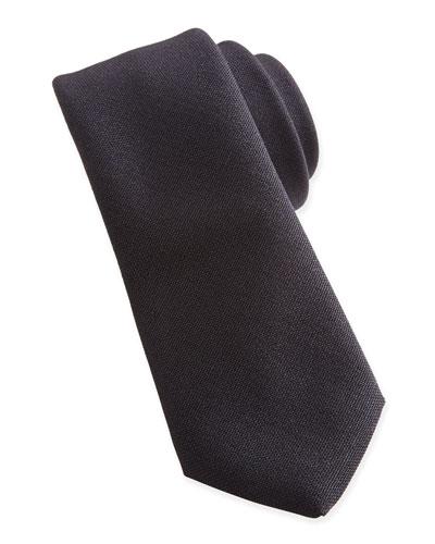 Woven Wool Tie, Black