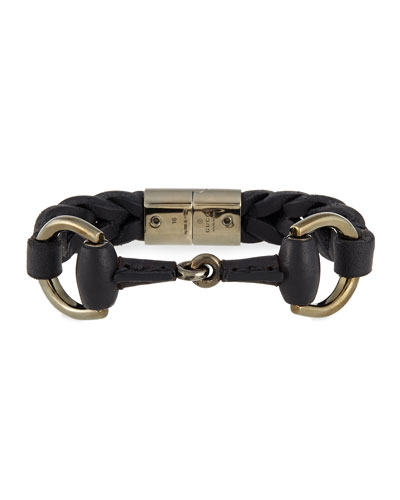 Leather Bracelet with Horsebit Detail, Black