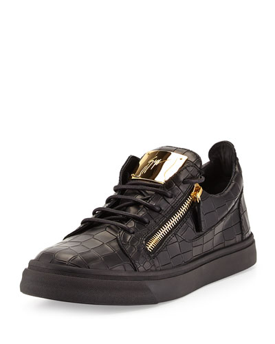 Men's Croc-Embossed Low-Top Sneaker, Black