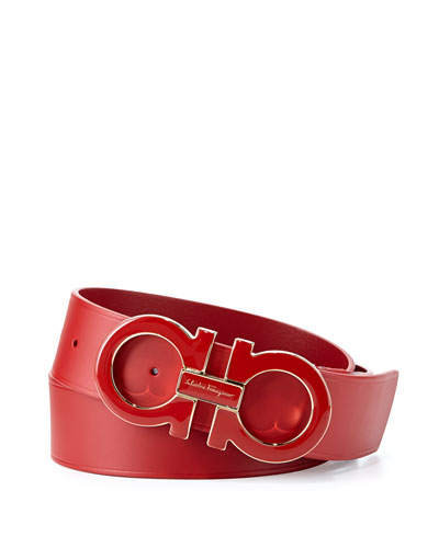 Large Enamel Gancini Buckle Belt, Red