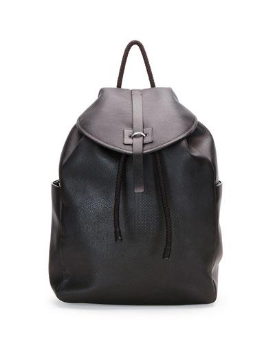 Stud-Skull Leather Backpack, Black