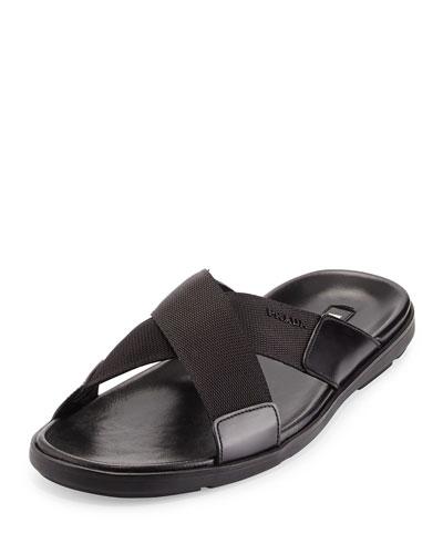 Crisscross Nylon Sandal, Black