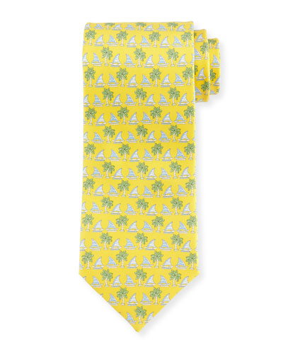 Sailboat & Palm Tree-Print Tie, Yellow