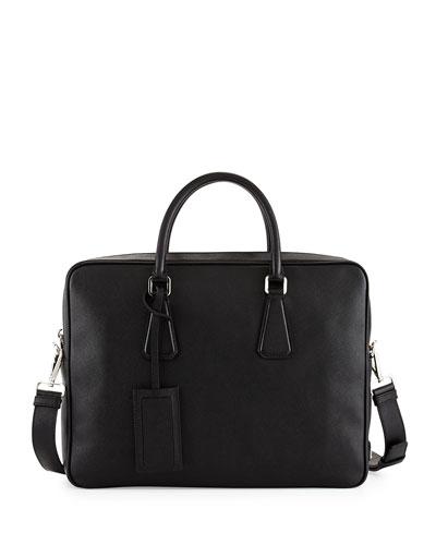 Saffiano Zip-Around Briefcase, Black (Nero)