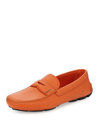 Saffiano Penny Driver Shoe, Orange