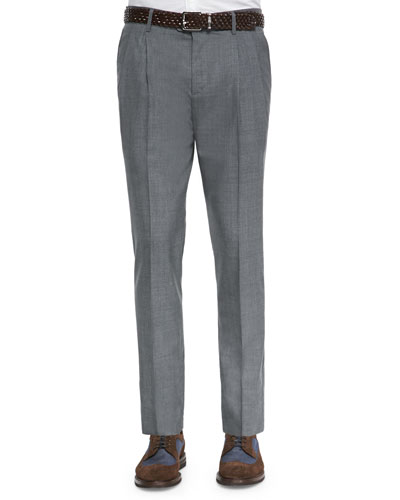 Double-Pleated Wool Trousers, Medium Gray