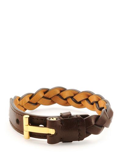 Nashville Men's Braided Leather Bracelet, Light Brown