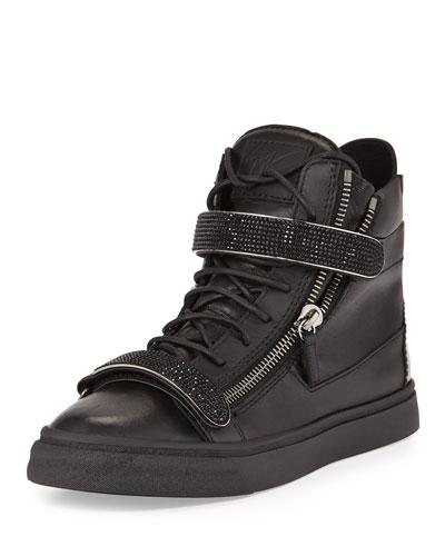 Men's Leather High-Top Sneaker, Black