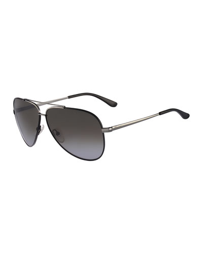 Aviator Sunglasses, Gunmetal/Black