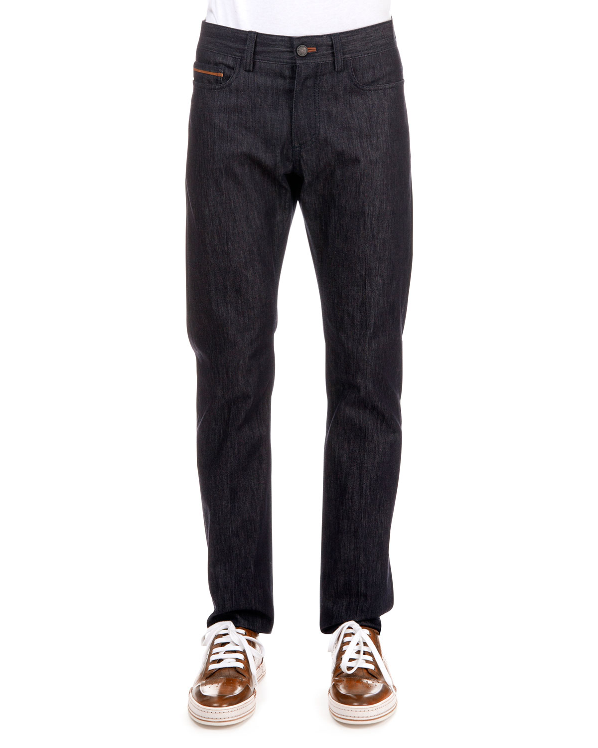 Berluti STRETCH-DENIM JEANS WITH LEATHER DETAIL