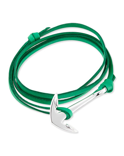 Anchor Leather Bracelet, Kelly Green