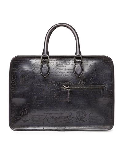 Scritto Leather Briefcase, Black