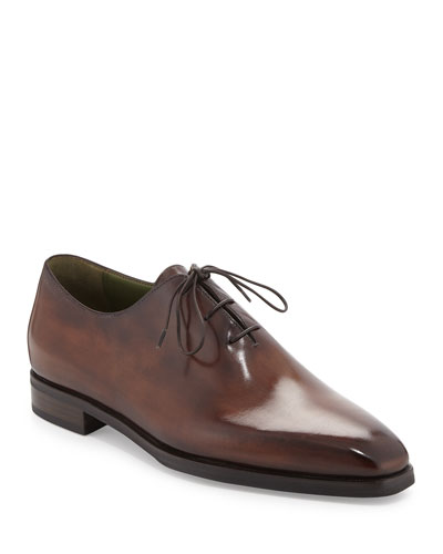 Alessandro Demesure Leather Oxford, Leather Sole, Brown