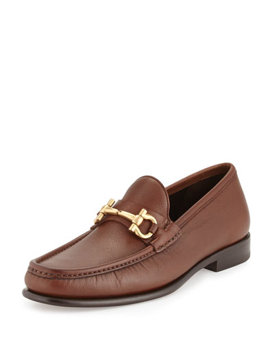 Pebbled Gancini Loafer, Light Brown