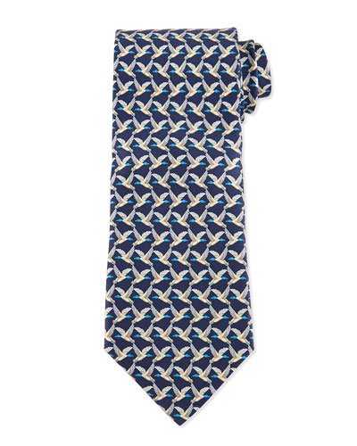 Birds Flying-Print Silk Tie, Blue