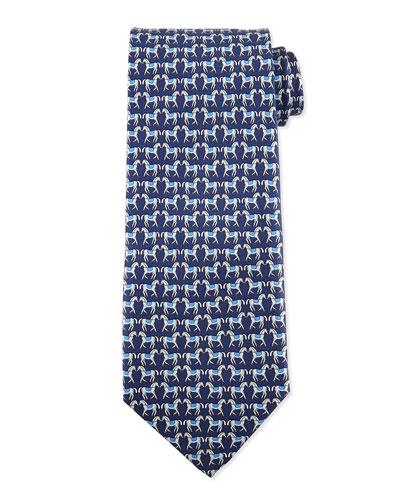 Horse-Print Silk Tie, Blue