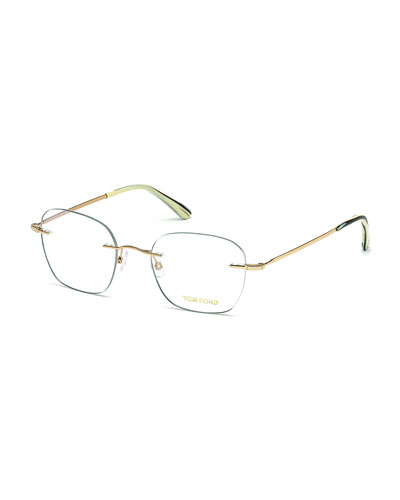 Shiny Metal Wood Effect Eyeglasses