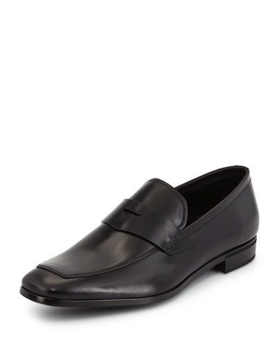 Leather Dress Penny Loafer, Black